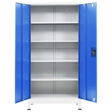 vidaXL Armário de escritório 90x40x180 cm metal cinzento e azul[4/8]