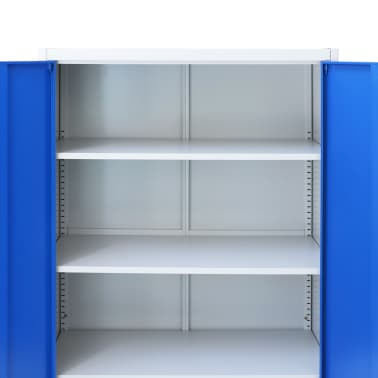 vidaXL Kontorskap metall 90x40x180 cm grå og blå[5/8]
