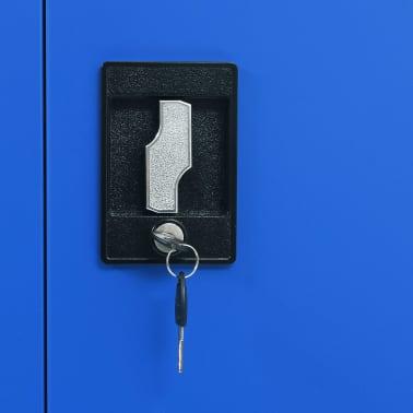 vidaXL Kontorskap metall 90x40x180 cm grå og blå[7/8]