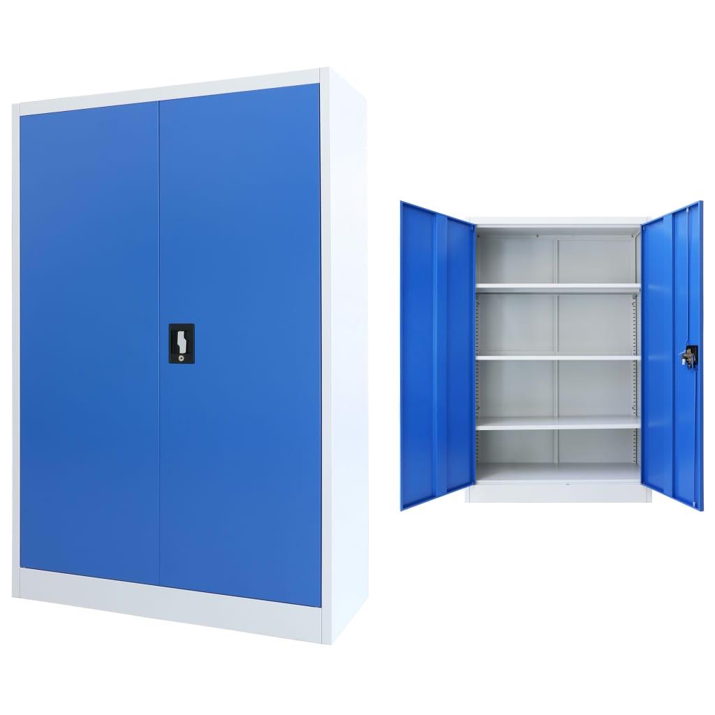 Kancelářská skříň kovová 90 x 40 x 140 cm šedo-modrá
