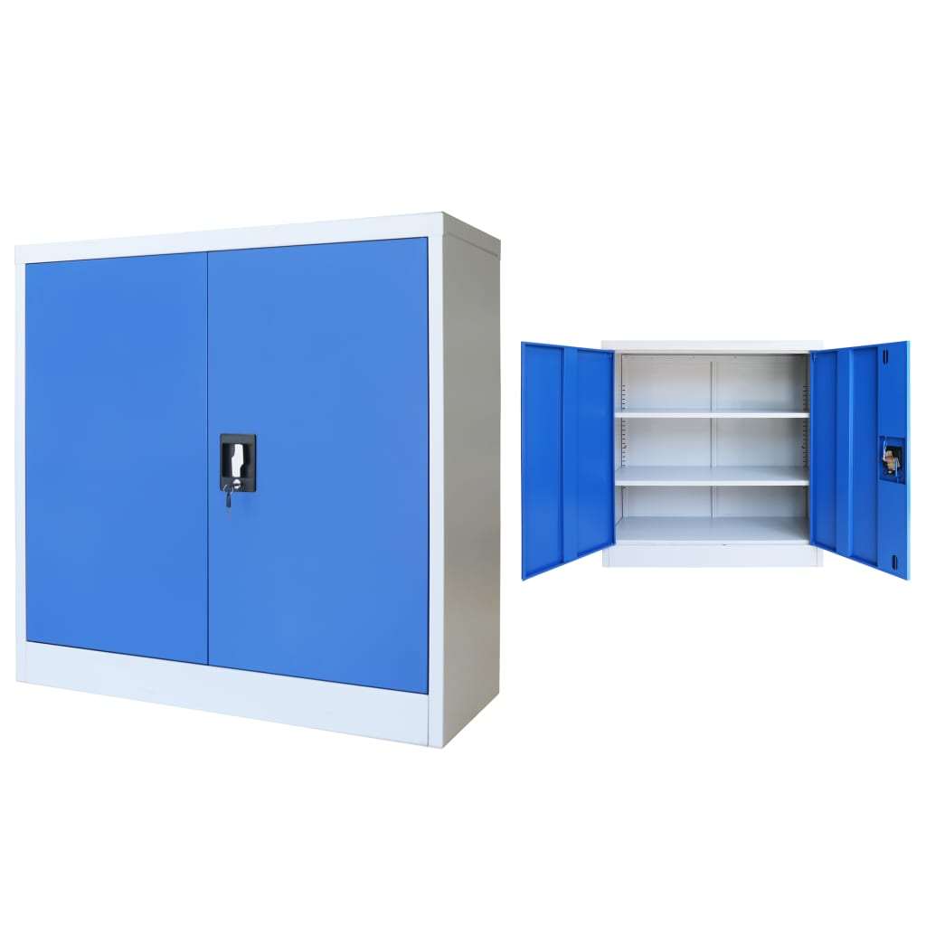 Kancelářská skříň kovová 90 x 40 x 90 cm šedo-modrá