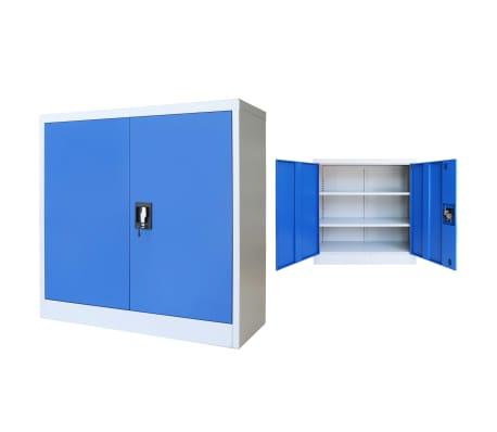 "vidaXL Office Cabinet Metal 35.4""x15.7""x35.4"" Gray and Blue"