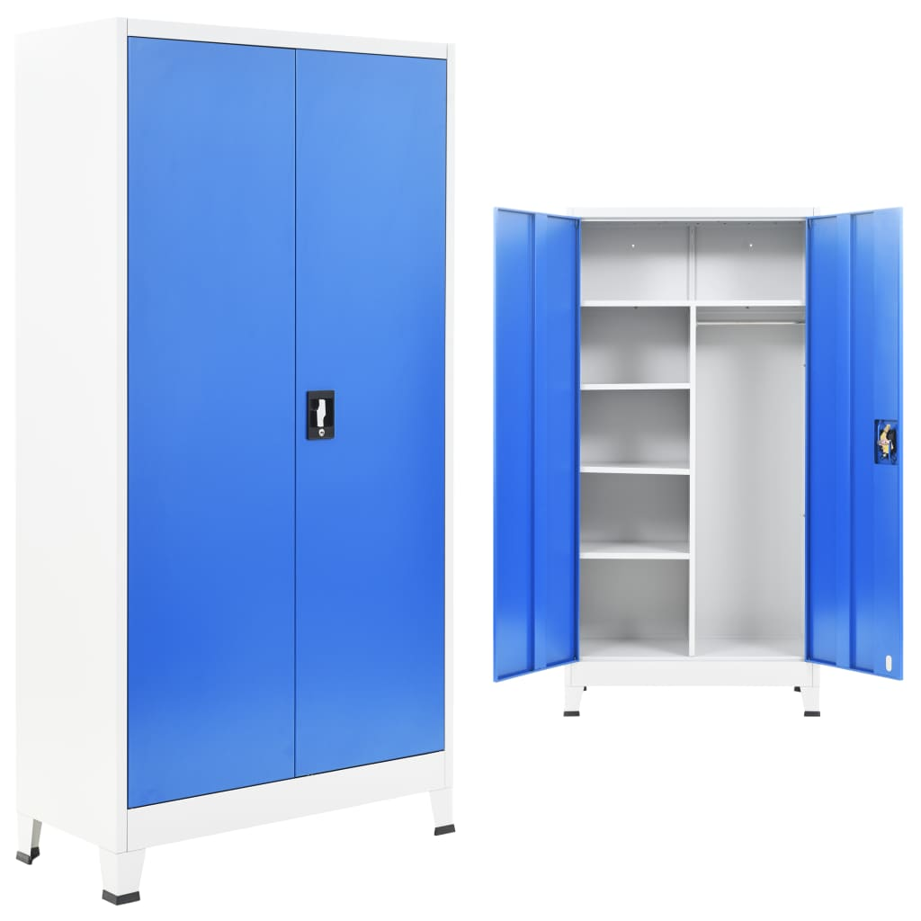 vidaXL Dulap vestiar cu 2 uși, metal, 90x40x180 cm, gri și albastru imagine vidaxl.ro