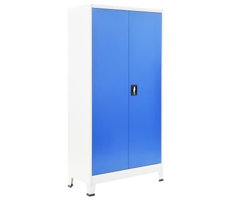 "vidaXL Locker Cabinet with 2 Doors Metal 35.4""x15.7""x70.9"" Gray and Blue[2/8]"