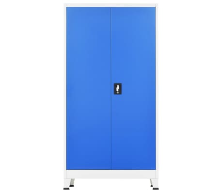 "vidaXL Locker Cabinet with 2 Doors Metal 35.4""x15.7""x70.9"" Gray and Blue[4/8]"