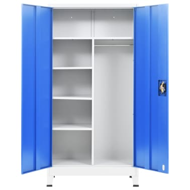 "vidaXL Locker Cabinet with 2 Doors Metal 35.4""x15.7""x70.9"" Gray and Blue[5/8]"