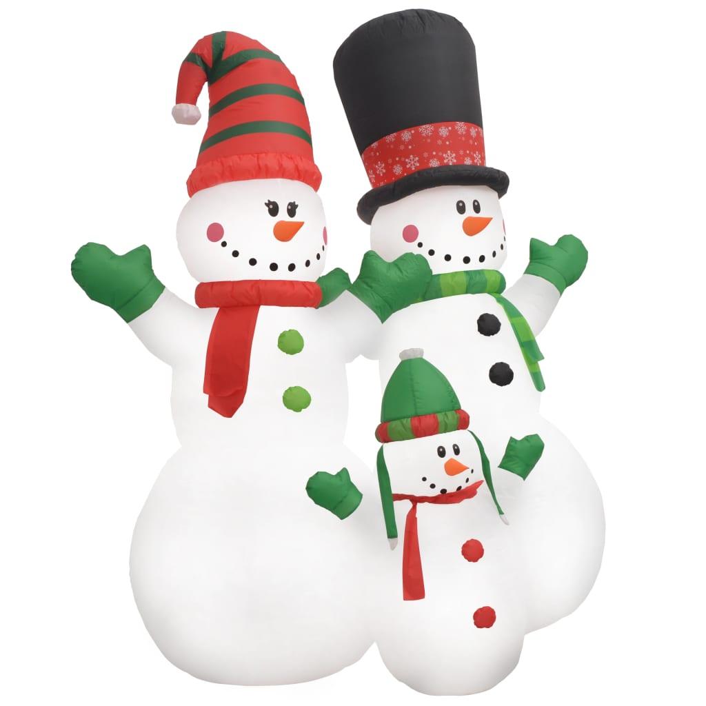 vidaXL Vánoční nafukovací rodina sněhuláků LED IP44 240 cm
