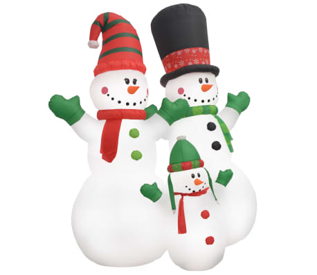 vidaXL Obitelj božićnih snjegovića na napuhavanje LED IP44 240 cm