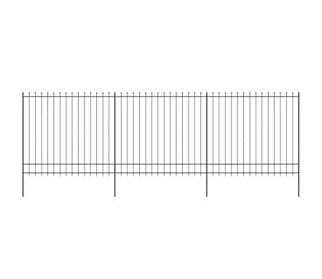 vidaXL fekete hegyes végű biztonsági acélkerítés 600 x 200 cm[2/5]