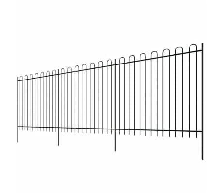 vidaXL fekete biztonsági acélkerítés kengyel alakú véggel 600 x 200 cm[3/5]