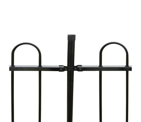 vidaXL fekete biztonsági acélkerítés kengyel alakú véggel 600 x 200 cm[4/5]