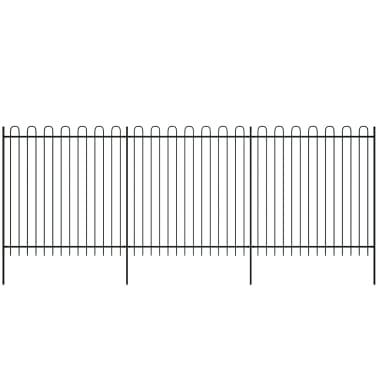 vidaXL fekete biztonsági acélkerítés kengyel alakú véggel 600 x 200 cm[2/5]
