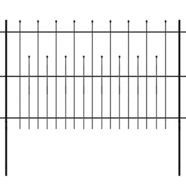 vidaXL fekete hegyes végű biztonsági acélkerítés 600 x 120 cm[1/5]