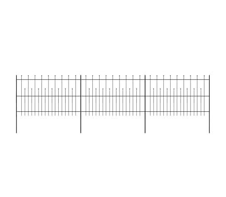 vidaXL fekete hegyes végű biztonsági acélkerítés 600 x 120 cm[2/5]