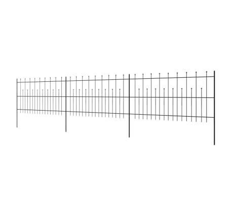 vidaXL fekete hegyes végű biztonsági acélkerítés 600 x 120 cm[3/5]