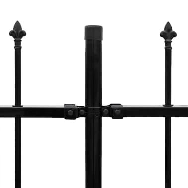 vidaXL fekete hegyes végű biztonsági acélkerítés 600 x 120 cm[4/5]
