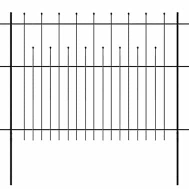 vidaXL Zaun Zaunelemente Gespitzt Stahl 600x150 cm Schwarz[1/5]