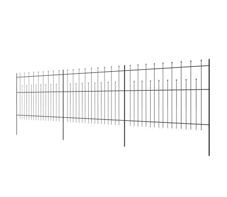 vidaXL Zaun Zaunelemente Gespitzt Stahl 600x150 cm Schwarz[3/5]