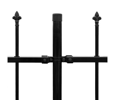 vidaXL Zaun Zaunelemente Gespitzt Stahl 600x150 cm Schwarz[4/5]