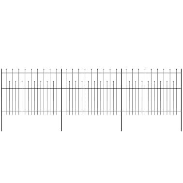 vidaXL Zaun Zaunelemente Gespitzt Stahl 600x150 cm Schwarz[2/5]
