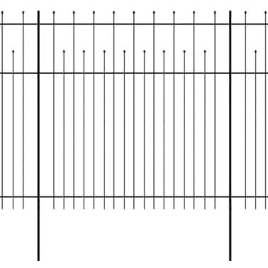 vidaXL Zaun Zaunelemente Gespitzt Stahl 600 x 200 cm Schwarz[1/5]