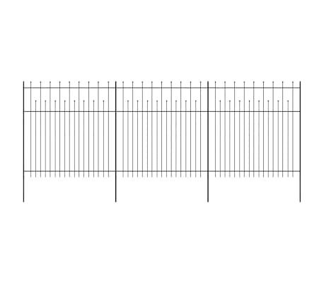 vidaXL Zaun Zaunelemente Gespitzt Stahl 600 x 200 cm Schwarz[2/5]