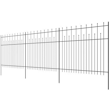 vidaXL Zaun Zaunelemente Gespitzt Stahl 600 x 200 cm Schwarz[3/5]