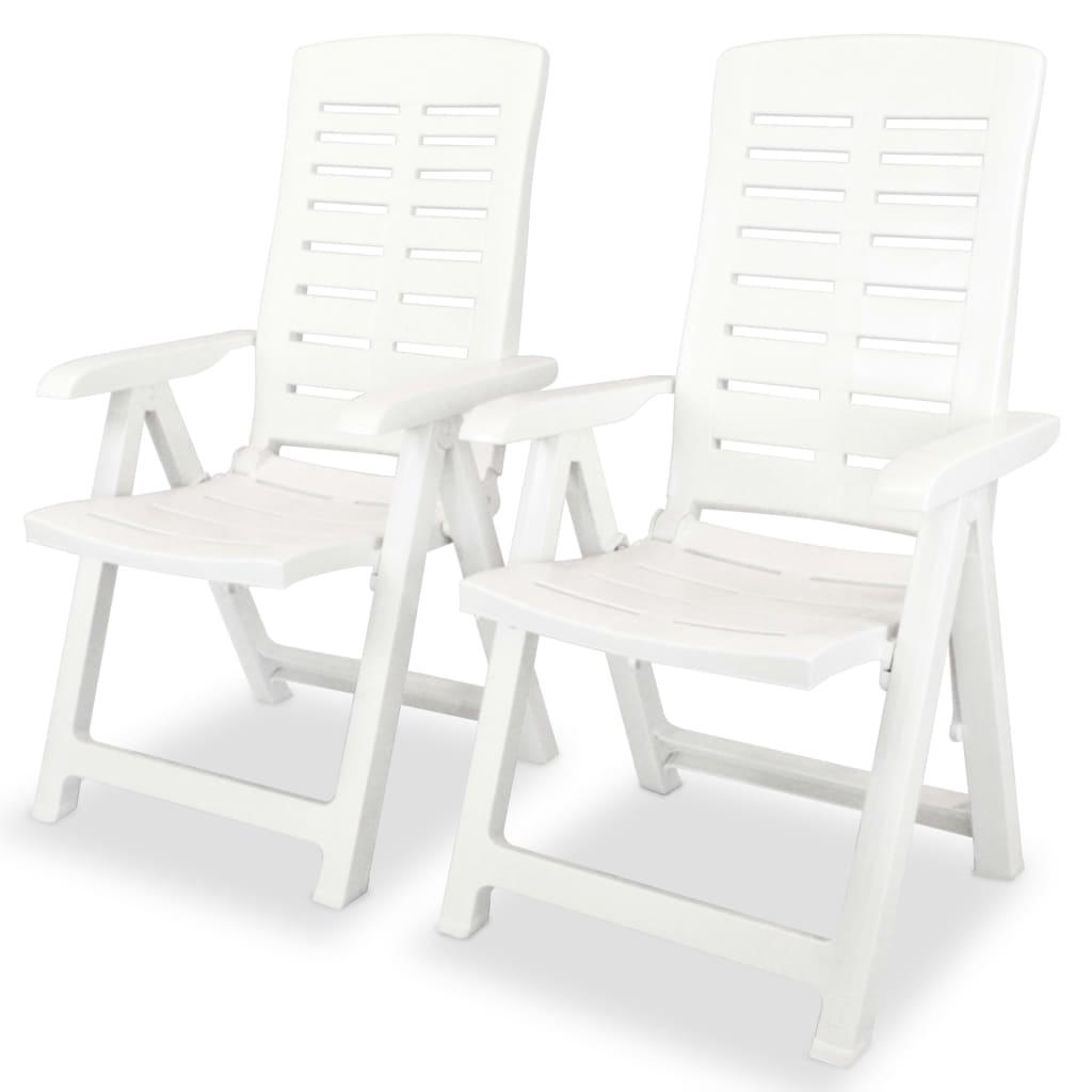 vidaXL Καρέκλες Κήπου Ανακλινόμενες 2 τεμ. Λευκές Πλαστικές