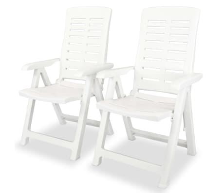 Vidaxl Verstellbare Gartenstuhle 2 Stk 60x61x108 Cm Kunststoff Weiss