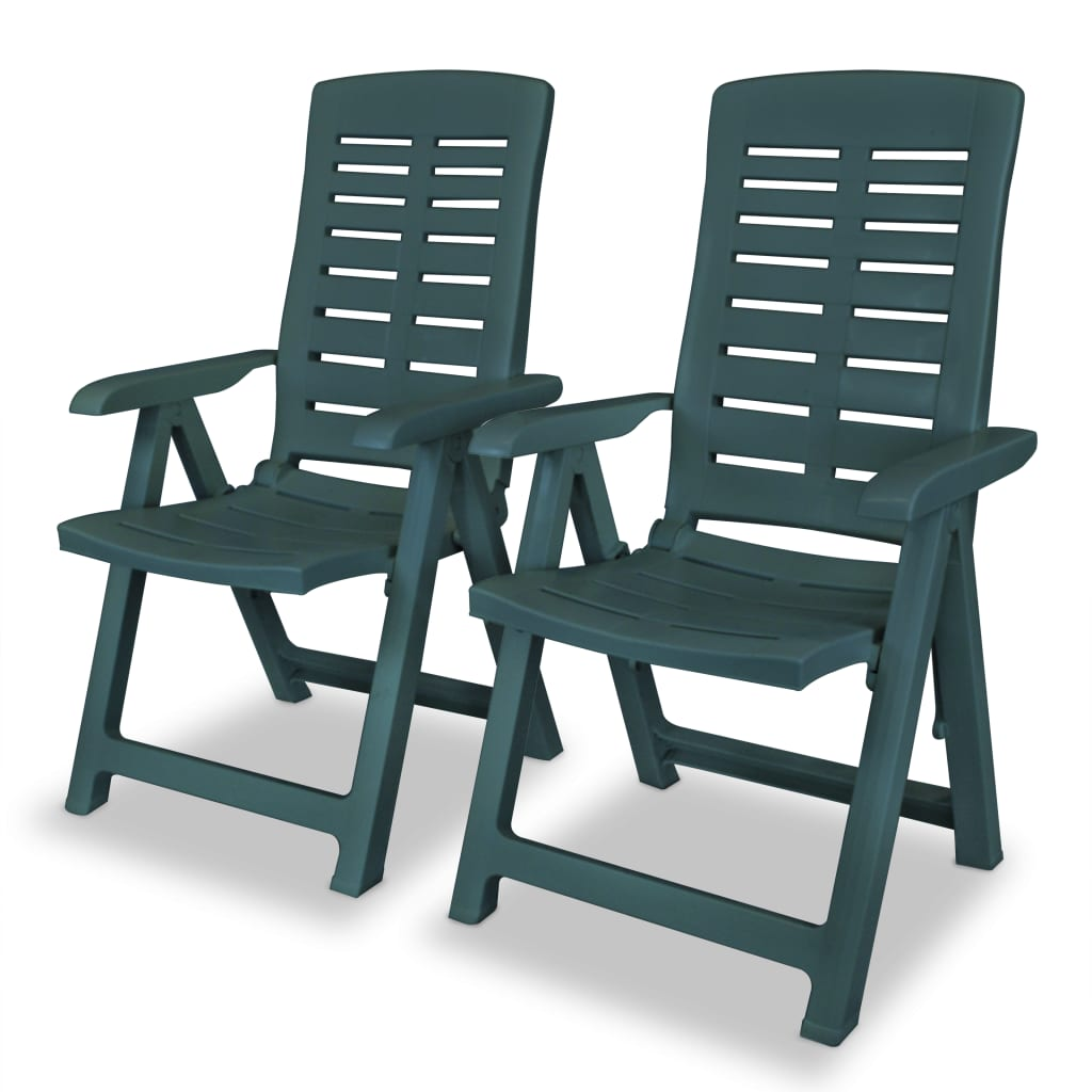vidaXL Καρέκλες Κήπου Ανακλινόμενες 2 τεμ. Πράσινες Πλαστικές