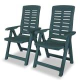 vidaXL Verstellbare Gartenstühle 2 Stk. 60x61x108 cm Kunststoff Grün