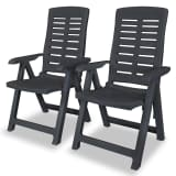 vidaXL Reclining Garden Chairs 2 pcs Plastic Anthracite