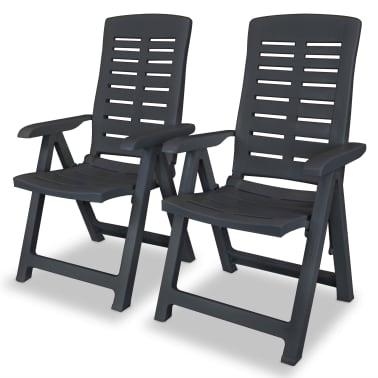 vidaXL Verstellbare Gartenstühle 2 Stk. Kunststoff Anthrazit[1/8]