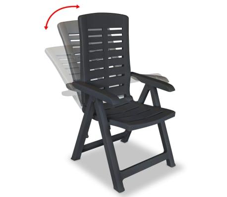 vidaXL Verstellbare Gartenstühle 2 Stk. Kunststoff Anthrazit[2/8]