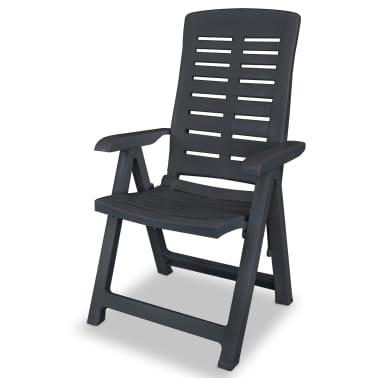 vidaXL Verstellbare Gartenstühle 2 Stk. Kunststoff Anthrazit[3/8]