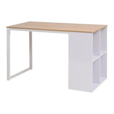 vidaXL Rašomasis stalas, 120x60x75cm, balta ir ąžuolo spalva[1/7]