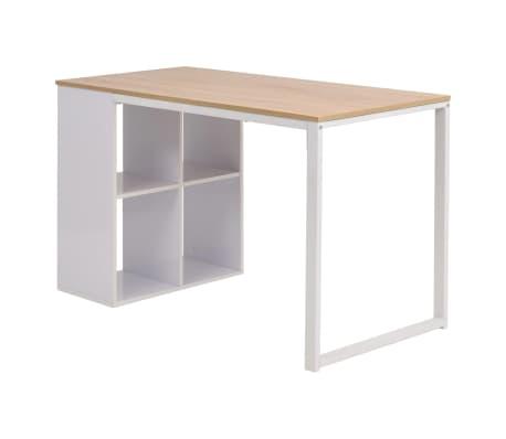 vidaXL Rašomasis stalas, 120x60x75cm, balta ir ąžuolo spalva[3/7]
