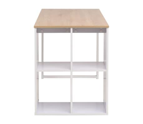 vidaXL Rašomasis stalas, 120x60x75cm, balta ir ąžuolo spalva[4/7]