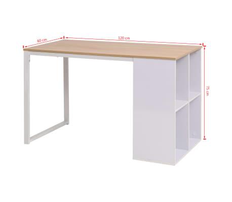 vidaXL Rašomasis stalas, 120x60x75cm, balta ir ąžuolo spalva[7/7]