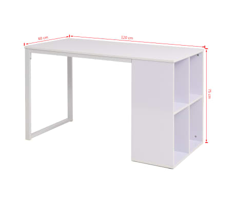 vidaXL Table d'écriture 120 x 60 x 75 cm Blanc[7/7]