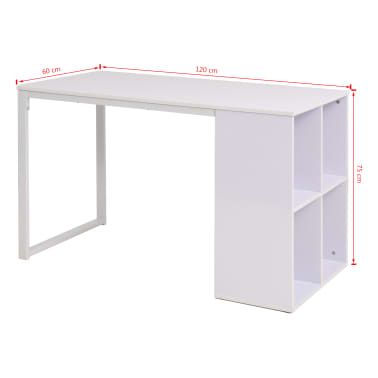 vidaXL Writing Desk 120x60x75 cm White[7/7]