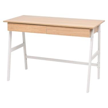 vidaXL Rašomasis stalas, 110x55x75 cm, balta ir ąžuolo spalva[1/6]