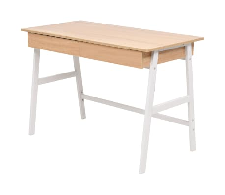 vidaXL Rašomasis stalas, 110x55x75 cm, balta ir ąžuolo spalva[2/6]