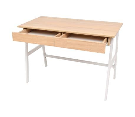 vidaXL Rašomasis stalas, 110x55x75 cm, balta ir ąžuolo spalva[3/6]