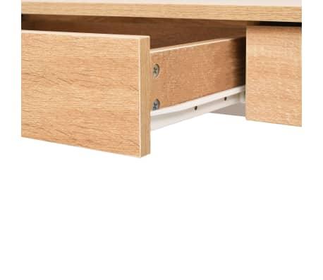 vidaXL Rašomasis stalas, 110x55x75 cm, balta ir ąžuolo spalva[5/6]
