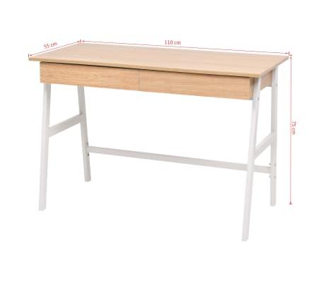 vidaXL Rašomasis stalas, 110x55x75 cm, balta ir ąžuolo spalva[6/6]