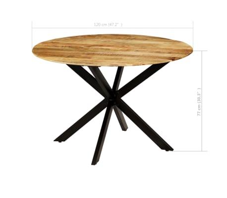 Acheter vidaxl table de salle manger bois de manguier brut et acier 120x77cm pas cher - Table salle a manger bois acier ...