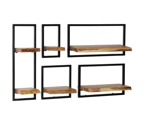 vidaXL Wandregal-Set 5-tlg. Massives Akazienholz und Stahl[12/13]
