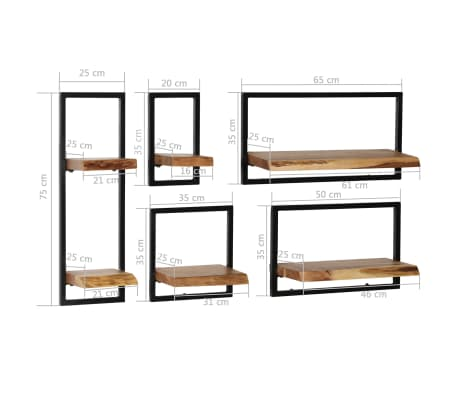 vidaXL Wandregal-Set 5-tlg. Massives Akazienholz und Stahl[9/13]