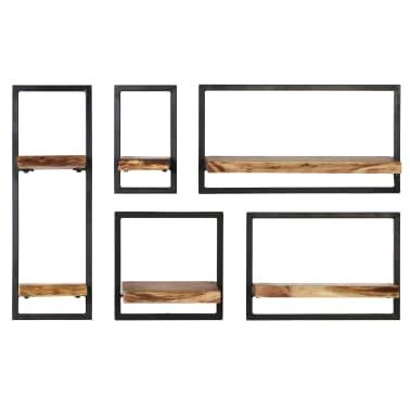 vidaXL Wandregal-Set 5-tlg. Massives Akazienholz und Stahl[2/13]